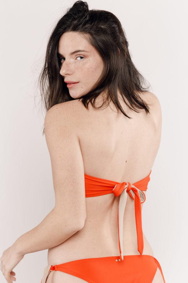 Maillot de bain deux pièces orange réversible