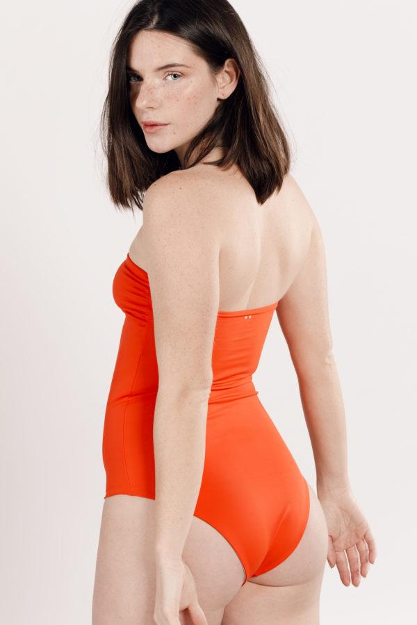Maillot de bain une pièce orange réversible